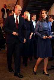 Kate Middleton was sweet and demure in a blue lace-bodice dress by Seraphine while touring Norway.