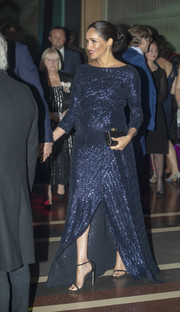 Meghan Markle got glitzed up in a navy sequined maternity gown by Roland Mouret for the Cirque du Soleil premiere of 'Totem.'