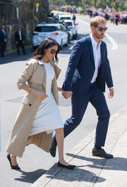 Meghan Markle kept her feet comfy in a pair of pointy flats while visiting Taronga Zoo in Sydney, Australia.