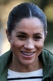 Meghan Markle visited the Moroccan Royal Federation of Equitation Sports wearing a casual ponytail.