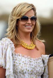 Penny Lancaster wore a summer-inspired statement necklace at the 2009 Duke of Essex Polo Cup.