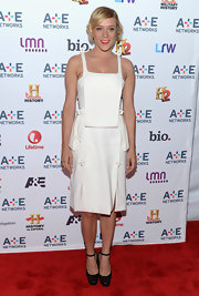 Chloe Sevigny chose a super structured white frock with a square-neck for her red carpet look at the A&E Upfront event.