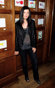 Bono's beautiful wife can really pull off rocker chic.  This leather jacket looks plush and drapey yet still tough.