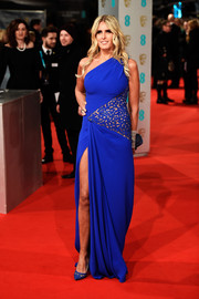 Titziana Rocca looked hot in blue at the 2015 British Academy Film Awards wearing a bright blue gown with lace detail.