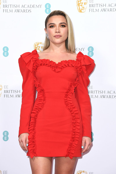 More Pics of Florence Pugh Medium Straight Cut (11 of 12) - Medium Straight Cut Lookbook - StyleBistro [clothing,cocktail dress,dress,shoulder,fashion model,red,fashion,joint,sleeve,neck,british academy film awards 2020 nominees,florence pugh,ee,england,london,kensington palace,red carpet arrivals,party,florence pugh,73rd british academy film awards,royal albert hall,little women,bafta rising star award,actor,british academy of film and television arts,academy awards,photograph,british academy film awards]