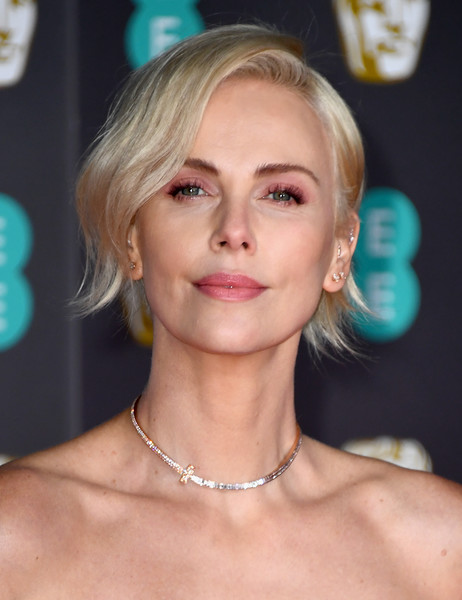 Charlize Theron rocked a subtly wavy razor cut at the 2020 EE British Academy Film Awards.