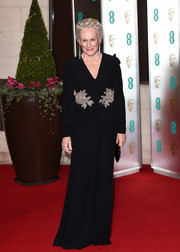 Glenn Close was classy, as always, in a crystal-embellished peplum gown by Alexander McQueen at the EE British Academy Film Awards.