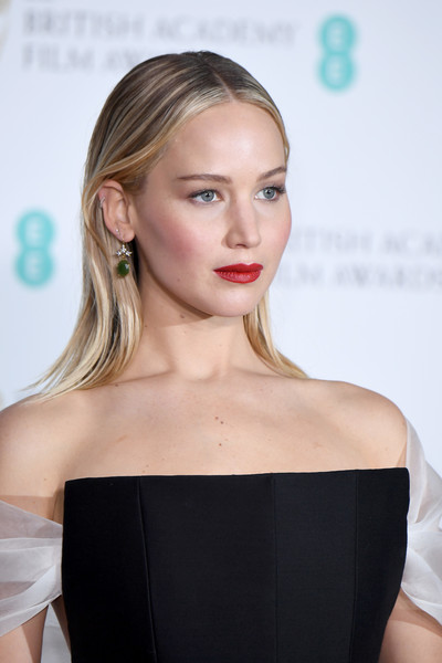 More Pics of Jennifer Lawrence Red Lipstick (1 of 9) - Makeup Lookbook - StyleBistro [hair,face,shoulder,hairstyle,lip,blond,beauty,chin,dress,joint,ee,room,press room,england,london,royal albert hall,british academy film awards,jennifer lawrence]