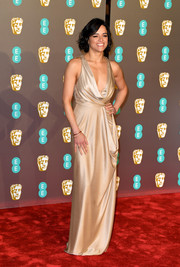 Michelle Rodriguez was sexy-glam in a draped champagne gown by Jenny Packham at the EE British Academy Film Awards.