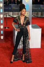 Naomie Harris looked effortlessly glam in a sheer, beaded tunic gown by Zuhair Murad Couture at the EE British Academy Film Awards.