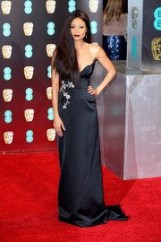 Thandie Newton looked ultra sophisticated in a strapless, floral-embroidered gown by Osman at the 2017 BAFTAs.