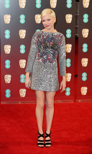 Michelle Williams hit the 2017 BAFTAs wearing an edgy-glam sequin dress by Louis Vuitton.