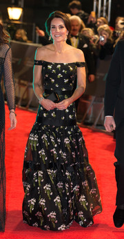 Kate Middleton looked breathtaking in a floral off-the-shoulder gown by Alexander McQueen at the 2017 BAFTAs.