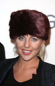 Lydia Brown braved the cold in a luxurious brown fur hat at the launch of EE in London.