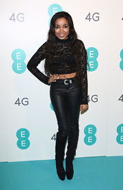 Dionne Bromfield rocked black leather skinny pants at the EE Launch event.