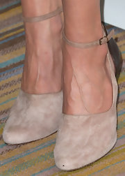 Chelsea Handler chose a pair of nude suede pumps with a leather ankle strap for a sleek and classy look.