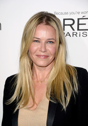 Chelsea Handler wore a slightly mussed-up, center-parted 'do at the Elle Women in Hollywood celebration.