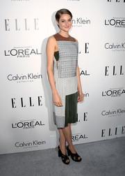 Shailene Woodley sported a busy-looking Calvin Klein print dress at the Elle Women in Hollywood celebration.