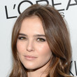Zoey Deutch's lengthy layers and smoky eye