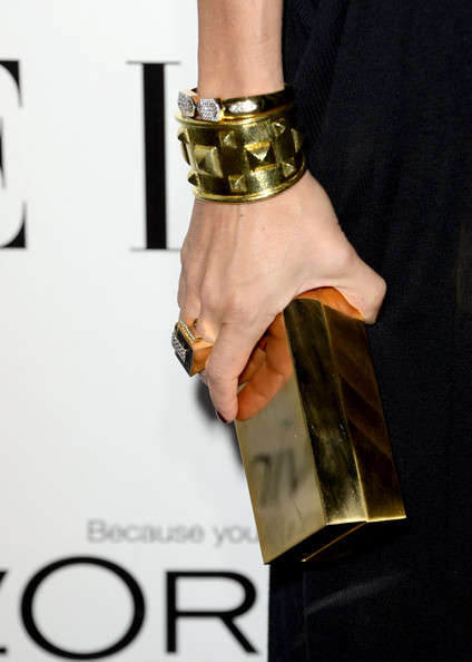 Rachel Zoe carried a luxe gold box clutch when she attended the Elle Women in Hollywood celebration.