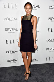 Ashley Madekwe teamed her edgy dress with a pair of chunky-heeled ankle-strap sandals.