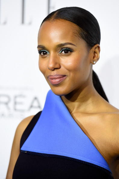 Kerry Washington looked fun and chic with her jewel-tone eyeshadow.