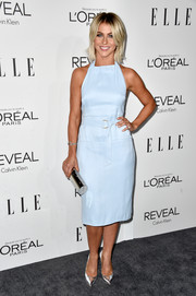 Julianne Hough added loads of shine with silver-themed accessories, including a Giuseppe Zanotti tube clutch and a pair of Casadei pumps.