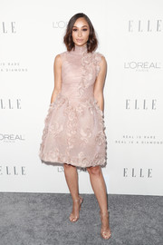 Cara Santana attended Elle's Women in Hollywood celebration looking sweet in a floral-appliqued blush dress by Georges Chakra Couture.