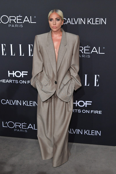 More Pics of Lady Gaga Pantsuit (2 of 16) - Suits Lookbook - StyleBistro [elle,hearts on fire,loreal paris,red carpet,suit,clothing,formal wear,fashion,pantsuit,outerwear,premiere,dress,tuxedo,fashion design,los angeles,beverly hills,california,25th annual women in hollywood celebration,calvin klein,lady gaga]