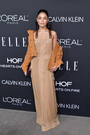 Vanessa Hudgens was boho-cute in a nude maxi dress by Alberta Ferretti at the  2018 Elle Women in Hollywood celebration.