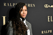 Storm Reid looked cool wearing this partially braided hairstyle at the 2019 Elle Women in Hollywood celebration.