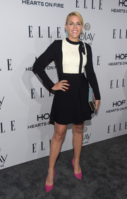 Busy Philipps went for mod cuteness in this black-and-white Valentino mini dress at the Elle Women in Television dinner. The hot-pink pumps added a welcome pop of color.