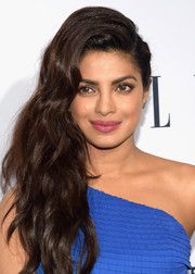 Priyanka Chopra's pink lipstick made a lovely contrast to her blue dress.