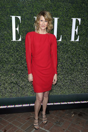 Laura Dern paired her dress with strappy gunmetal sandals.