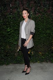 Whitney Cummings went mannish in a gray glen plaid blazer at the Elle Women in Comedy event.