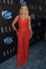 Busy Philipps worked a '70s vibe in this red wide-leg jumpsuit during the Elle Women in Comedy event.