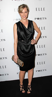 "Julie Benz carried a dazzling gold and silver beaded clutch to ""Elle's"" Inaugural Women in Television dinner."