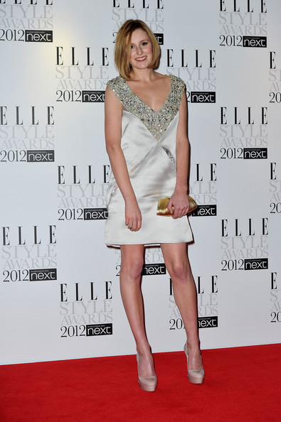 Laura Carmichael matched her stylish ensemble with a gorgeous gold clutch at the Elle event.