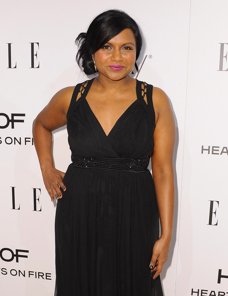 More Pics of Mindy Kaling Pink Lipstick (1 of 3) - Makeup Lookbook - StyleBistro [clothing,dress,little black dress,cocktail dress,hairstyle,fashion,neck,shoulder,fashion model,black hair,mindy kaling,annual women in television celebration,arrivals,west hollywood,california,sunset tower,elle,women in television celebration]