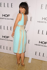 Constance Zimmer looked breezy and sophisticated at the Elle Women in Television celebration in an embellished turquoise cocktail dress with an open back.