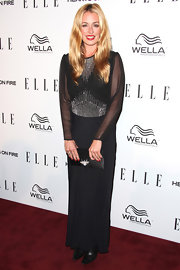 Cat Deeley looked rather demure in this black sheer-sleeved gown at the Women in Television Celebration.