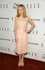 Kiernan Shipka looked pretty in pink in this beaded frock.