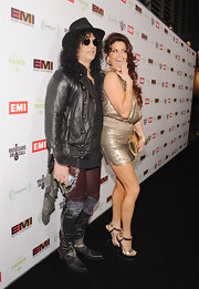 Slash wore an interesting pair of tricolor patchwork leather pants to the EMI post-Grammy party.