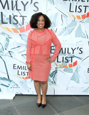 Shonda Rhimes suited up in red tweed for the EMILY's List Breaking Through event.