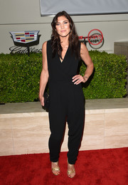 Hope Solo attended the Body at ESPYs pre-party looking trendy in a black jumpsuit.