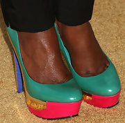 Tichina Arnold brightened up her look with multi-colored pumps at the Black Women in Hollywood Awards Luncheon.
