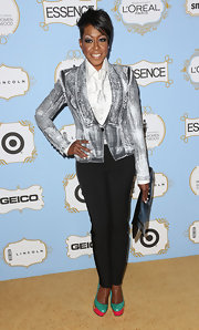 Tichina Arnold showed her rocker side with a funky faux denim-print blazer at the Black Women in Hollywood Awards Luncheon.