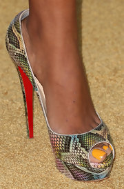 Claudia Jordan showed her funky side with multi-colored snakeskin peep toe pumps at the Black Women in Hollywood Awards Luncheon.