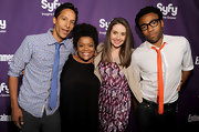 Actor Donald Glover attended the SyFy party with his hair styled in short curls.