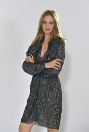 Trinny Woodall looked oh-so-sophisticated in her sheer blue and gold dress during the video shoot for her Magic Knickers range.
